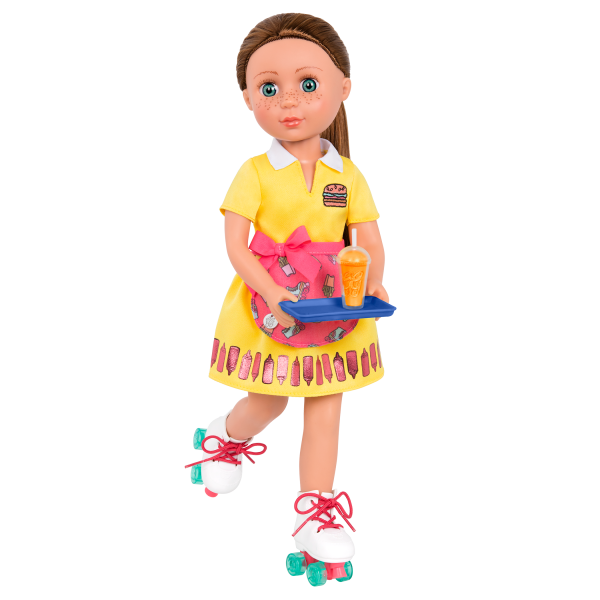 An Order of Friendship Drive-Thru Roller Skates Apron Outfit for 14-inch Dolls with Stivie