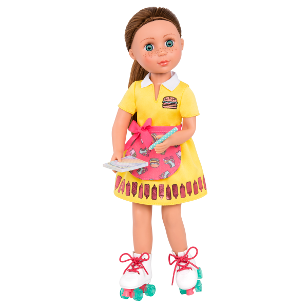 An Order of Friendship Drive-Thru Roller Skates Outfit for 14-inch Dolls with Stivie