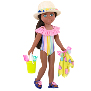 """Glitter Girls Beach Day Rays Rainbow Swimsuit Outfit with 14"""" Doll Odessa"""
