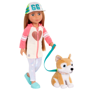Glitter Girls Posable 14-inch Doll Tavi & Plush Dog Nougat