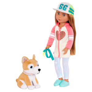 Glitter Girls Posable 14-inch Doll Tavi & Plush Dog Nougat Pet