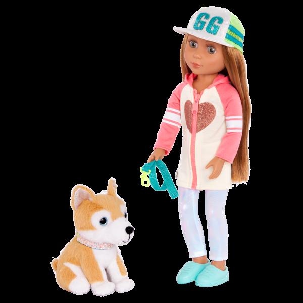 Glitter Girls Posable 14-inch Doll Tavi & Plush Dog Nougat Pet