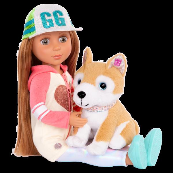 Glitter Girls Posable 14-inch Doll Tavi & Plush Dog Nougat Shiba Inu Pet