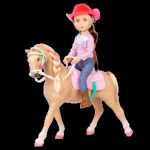 """Glitter Girls Poseable 14"""" Doll Jaime Brown Hair & Horse Jumper"""