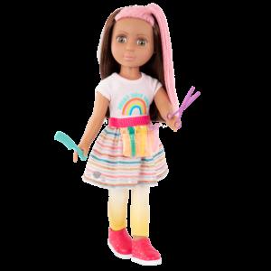 """Glitter Girls Poseable 14"""" Hairdresser Doll Lara Brown & Pink Hair"""