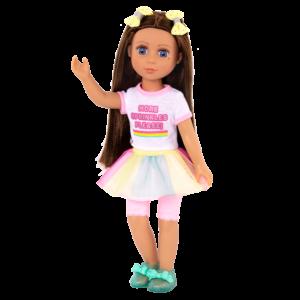 "Glitter Girls Poseable 14"" Doll Kika Brown Hair Blue Eyes"