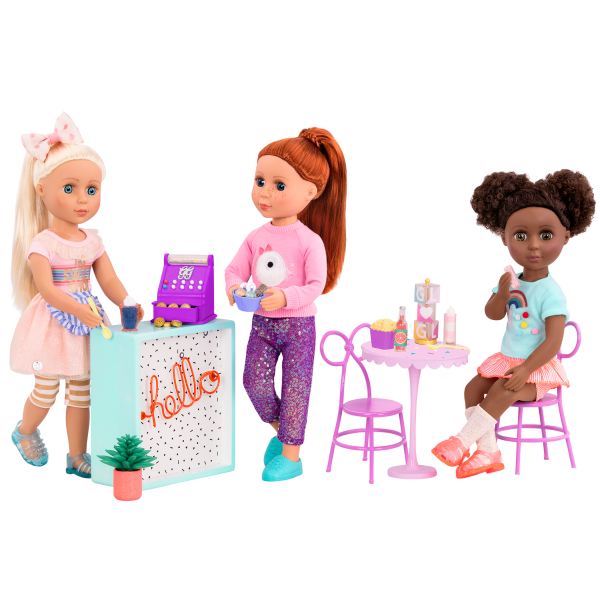Glitter Girls Sweet Shop Terrace Set with Dolls Chrissy, Charlie, and Nelly