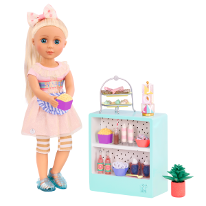Glitter Girls Sweet Shop Terrace Display Counter with Doll Chrissy