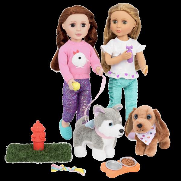 Glitter Girls Pet Play Set for Dog Plush with Dolls Sashka & Bobbi