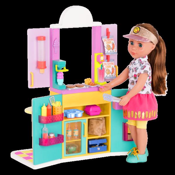 "Glitter Girls Drive-Thru Window Playset with 14"" Poseable Doll Stivie"