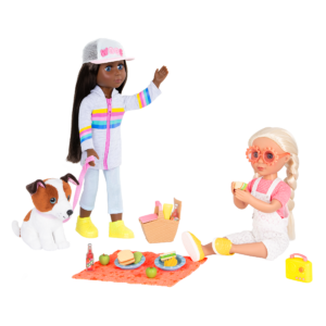 "Glitter Girls Picnic Set with 14"" Dolls Jana & Chrissy"