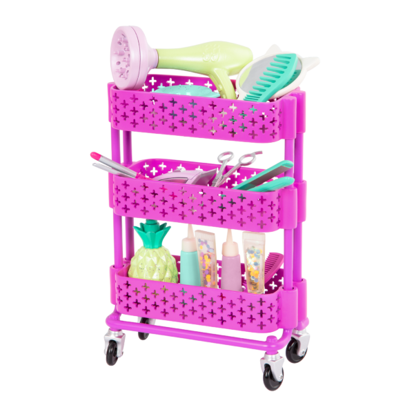 Glitter Girls Dolls Hair Salon Playset Rolling Storage Cart