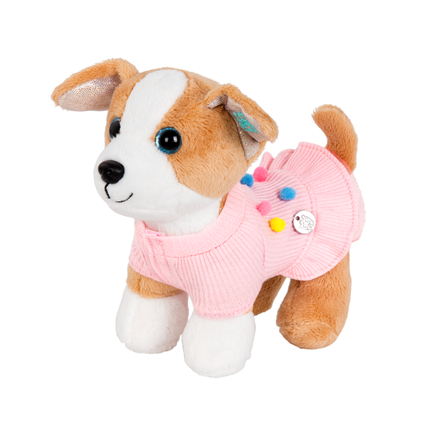 Pink Sweater Dress for Plush Pets with Rainbow Pompoms