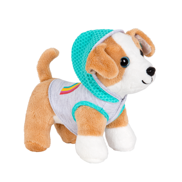 Rainbow Hooded Sweater for Plush Pets with Rainbow Print
