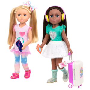 """Glitter Girls Carry-On Luggage Set with 14"""" Dolls Percy & Odessa"""