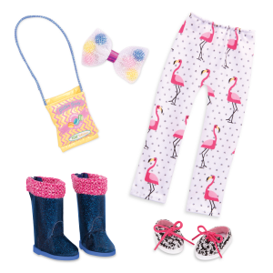 Flamingos & Candy Fashion Pack 14-inch Doll Clothes & Accessories