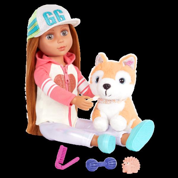 "Glitter Girls Bedtime Pup Set with 14"" Doll Tavi & Dog Plush Nougat"