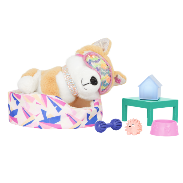 Glitter Girls Bedtime Pup Set Dog Plush Bed & Play Accessories